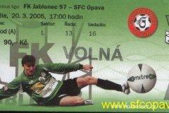 2004 - 2005 20. Jablonec - SFC OPAVA