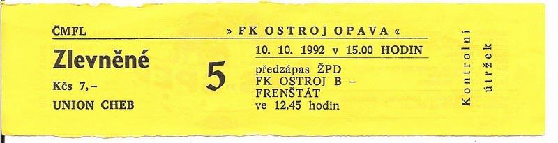 1991 - 1992 Opava - Cheb
