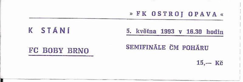 1992 - 1993 Opava - Brno (pohár)